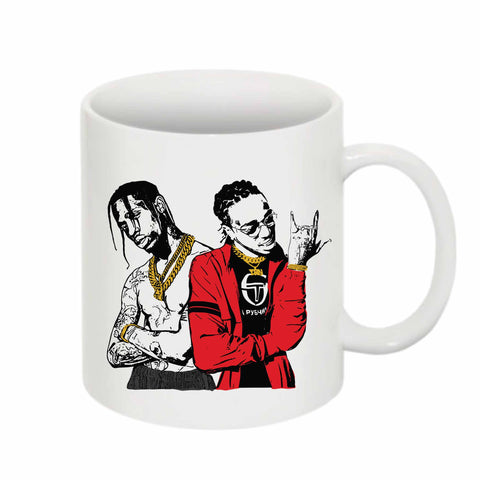 Huncho Jack Quavo and Travis Scott 11 0Z Ceramic White Mug