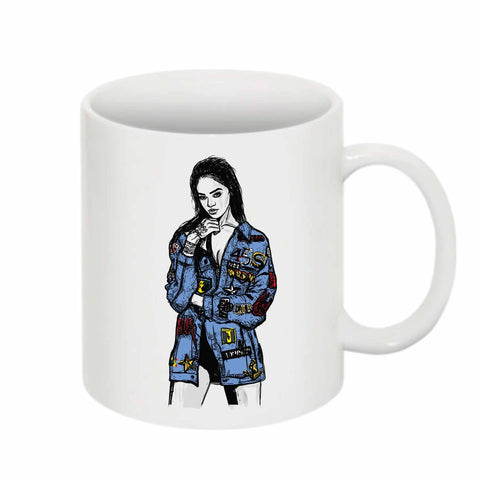 Rihanna Blue 11 0Z Ceramic White Mug