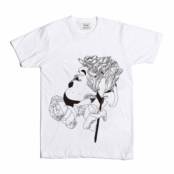 Flower Face White Tee // Valentine Rose // Babes & Gents // www.babesngents.com