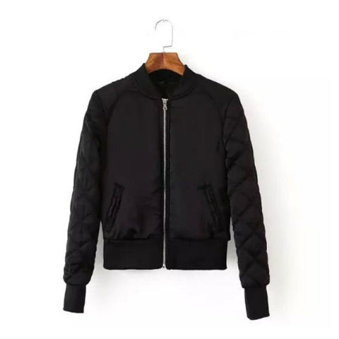 Black Bomber Jacket with quilted arms (Ladies)