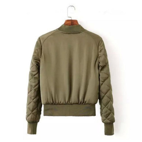 Military Olive Bomber Jacket with quilted arms (Ladies) // zargara streetwear hypebeast highsnobiety complex // www.babesngents.com