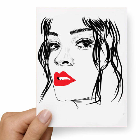 Rihanna Red Lips Valentines / Anniversary / Birthday / Christmas Card