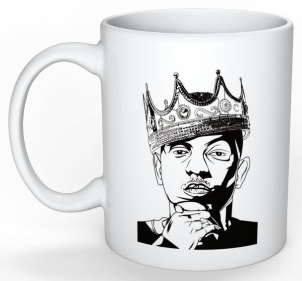 Kendrick Lamar with Crown 11 0Z Ceramic White Mug // pimp a butterfly king kunta i tde // Babes & Gents // www.babesngents.com