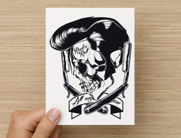 Elvis Rock N Roll Barber Skull Valentines / Anniversary / Birthday / Christmas Card // Babes & Gents //  www.babesngents.com