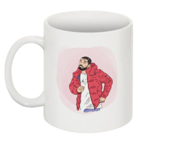 Drake Hotline Bling Watercolor 11 0Z Ceramic White Mug // Jumpman views what a time Bling Drizzy Woes 6 god // Babes & Gents // www.babesngents.com