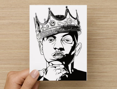 Kendrick Lamar with Crown Valentines / Anniversary / Birthday / Christmas Card // pimp a butterfly king kunta i tde