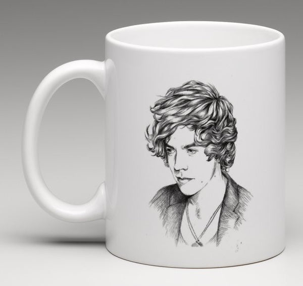 Harry Styles One Direction 1D 11 0Z Ceramic White Mug 2 // Babes & Gents // www.babesngents.com