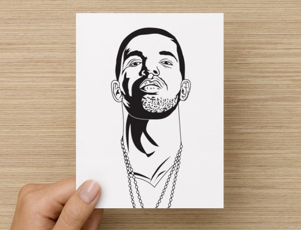 Drake with OVO Chains Valentines / Anniversary / Birthday / Christmas Card // Babes & Gents //  www.babesngents.com