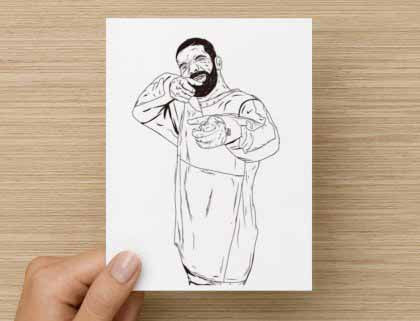 Drake 6 God Shooter Valentines / Anniversary / Birthday / Christmas Card // Jumpman Hotline Bling Drizzy Woes Views what a time // Babes & Gents //  www.babesngents.com