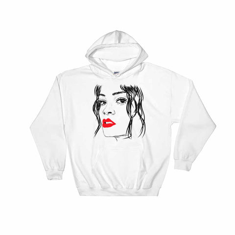 Rihanna ''Red Lips'' White Hoodie Sweater (Unisex)