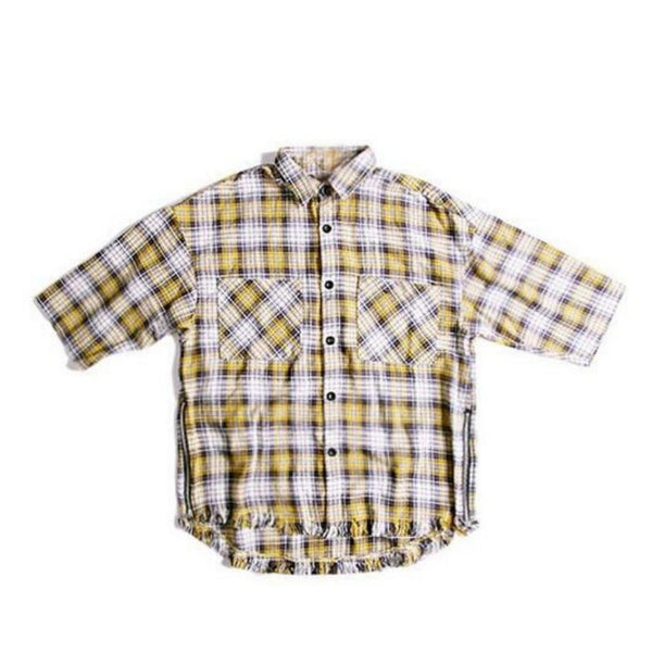 Yellow Short Sleeve Plaid Button down Shirt (Unisex) // zargara streetwear hypebeast highsnobiety complex // www.babesngents.com