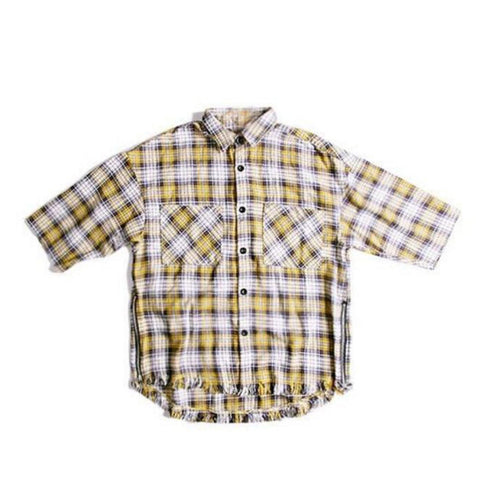 Yellow Short Sleeve Plaid Button down Shirt (Unisex)