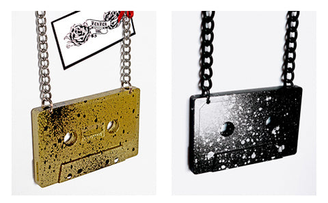 Handcrafted cassette tape pendant