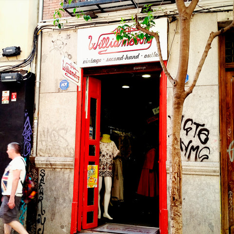 RokRokInc. recycled jewelry doing second hand shopping in Madrid