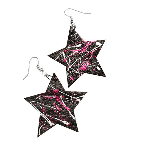 handcrafted leather star earrings