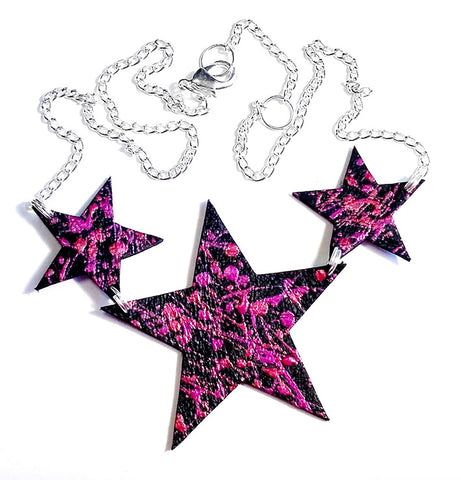 handcrafted leather star necklace