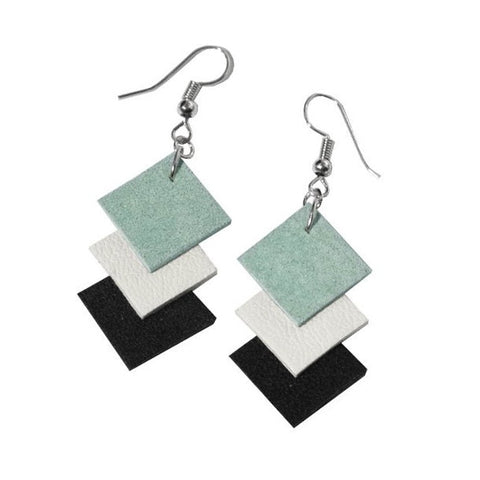 "Recycled Leather ""Be Square"" Earrings - Small"