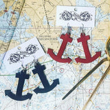 recycled leather upcycle anchor earrings