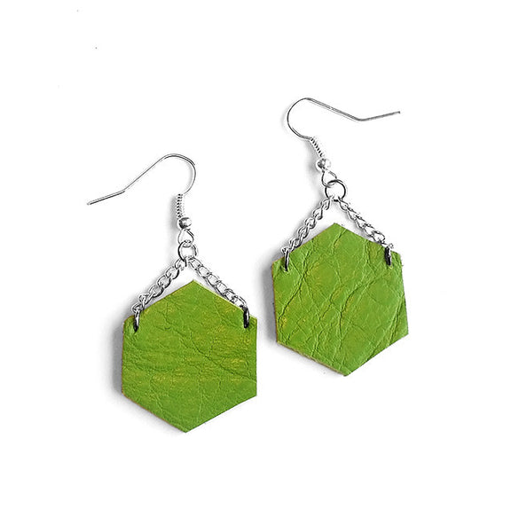 green handmade recycled leather earrings