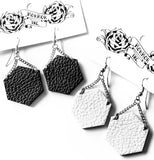 Recycled leather hexagon earrings
