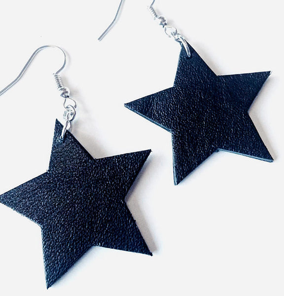Leather star earrings