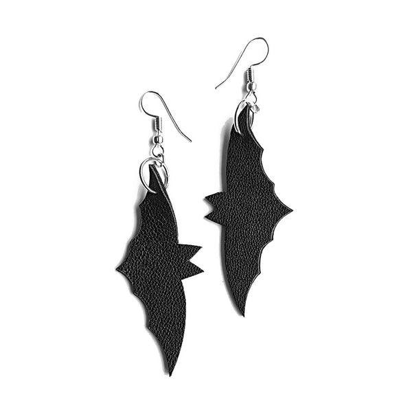 recycled leather bat earrings