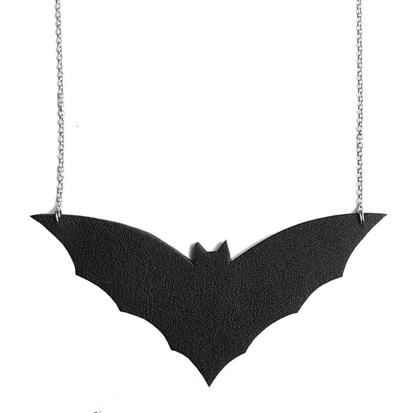 recycled leather bat necklace