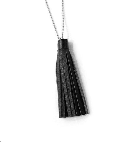 recycled black leather tassel necklace