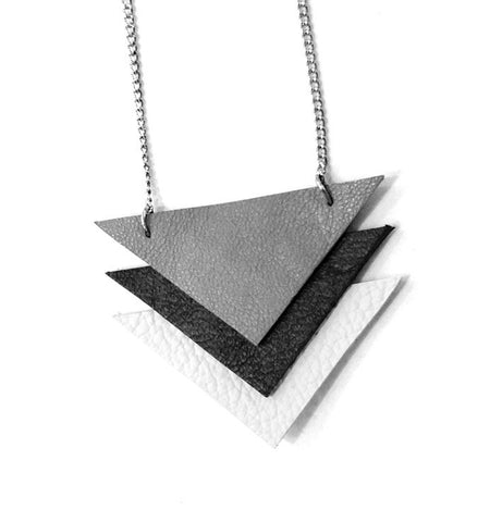 recycled leather triangle necklace