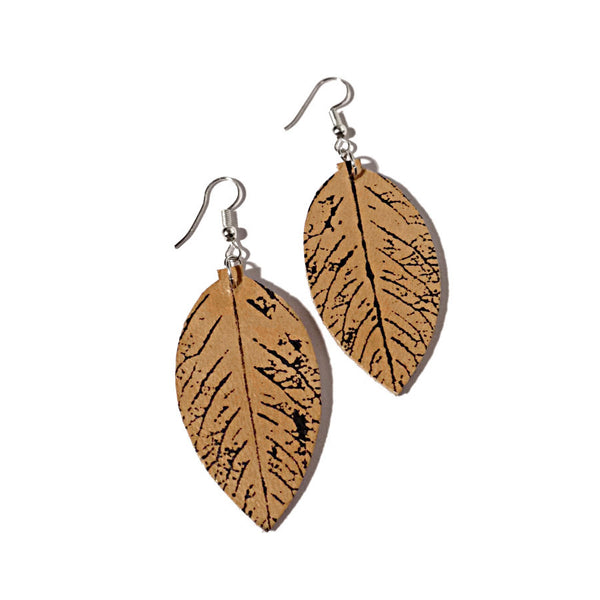 upcycled leather leaf earrings