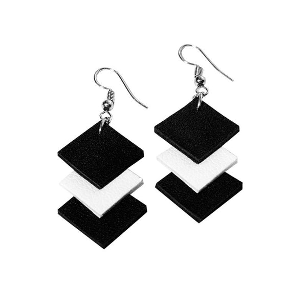 RokRokInc. recycled leather square earrings