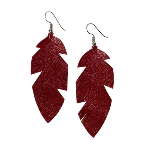Recycled Leather Feather Earrings – Small