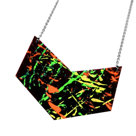 Uv painted recycled leather necklace