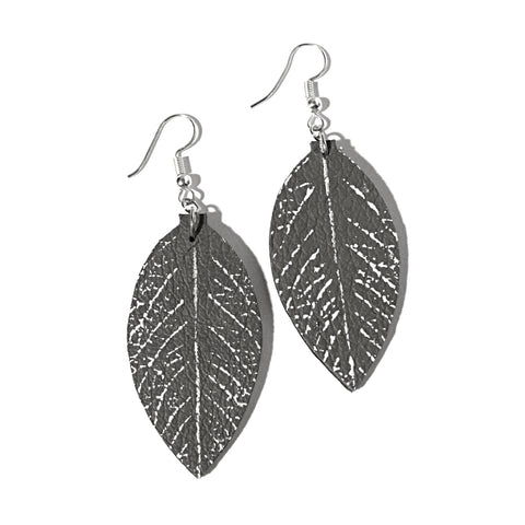 recycled leather leaf earrings