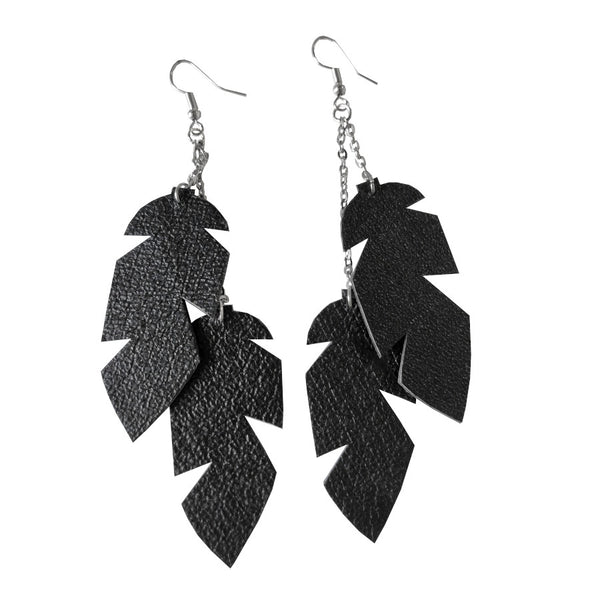 Recycled Leather Feather Earrings - DOUBLE