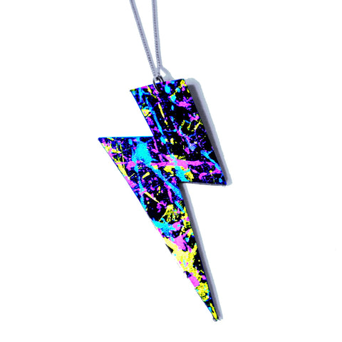 Uv-painted recycled leather necklace