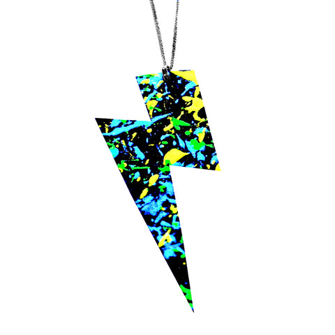 uv painted recycled leather lightning pendant