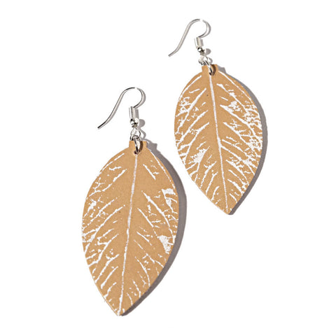 recycle leather leaf earrings