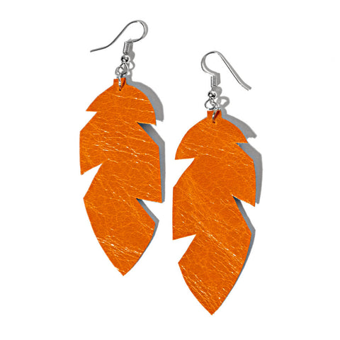 recycle leather feather earrings