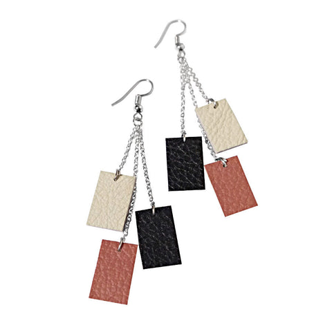 handmade recycled leather earrings