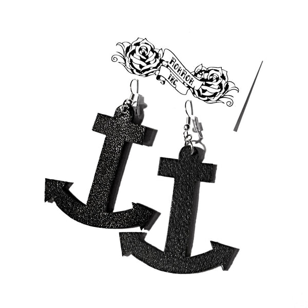 recycled leather upcycling anchor earrings