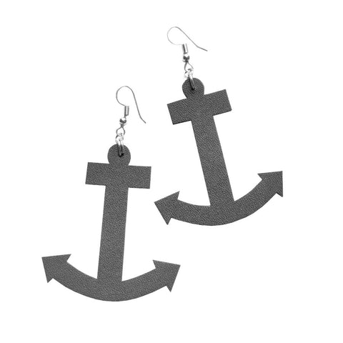 Recycled Leather Anchor Earrings
