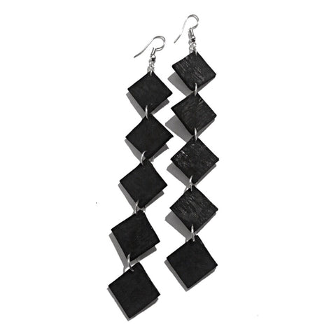 black recycled leather earrings