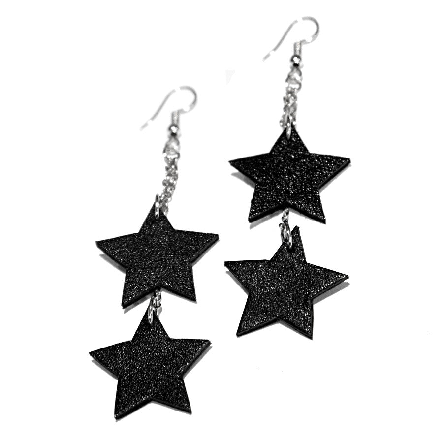 Real leather star earrings silver gift metallic leather pendant earrings upcycled handmade