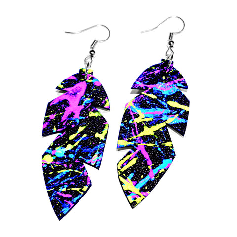 Recycled UV-painted Leather Feather Earrings - BIG