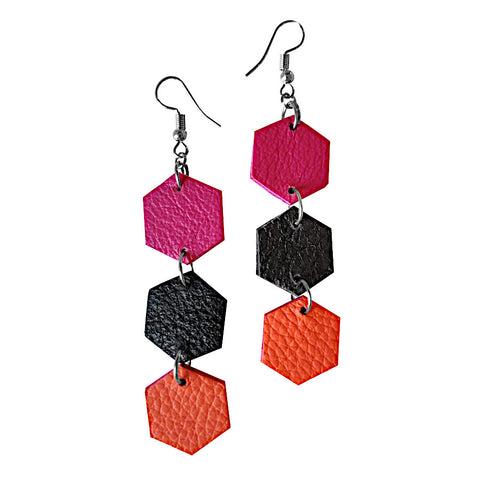 Recycled Leather Triple Hexagon Earrings