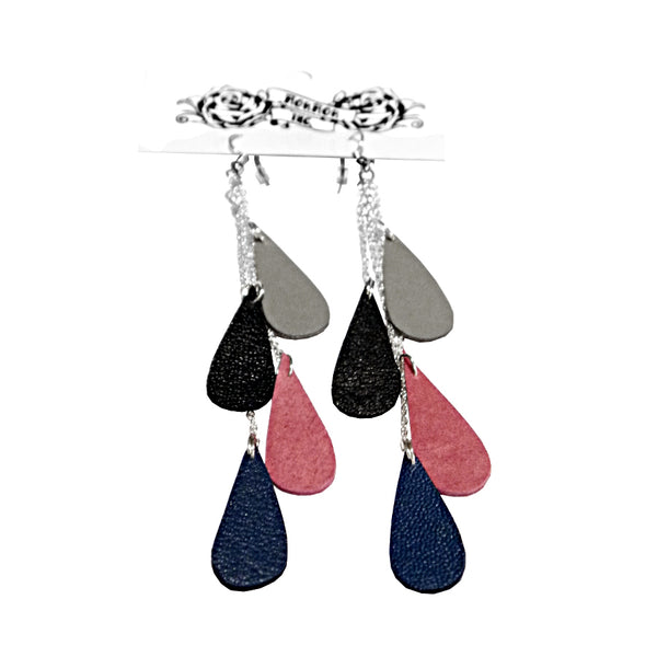 recycled leather drop earrings