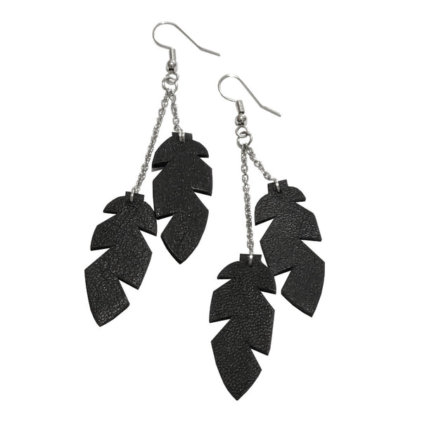 Recycled Leather Mini Feather Earrings - DOUBLE