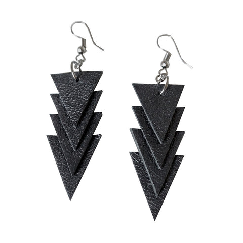 Recycled Leather Minitriangle Earrings