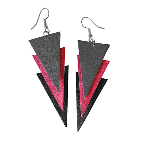 "Recycled Leather ""Trinity"" Earrings - SMALL"